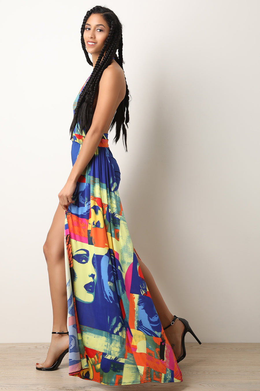 Pop Art Cutout Maxi Top With Shorts Set