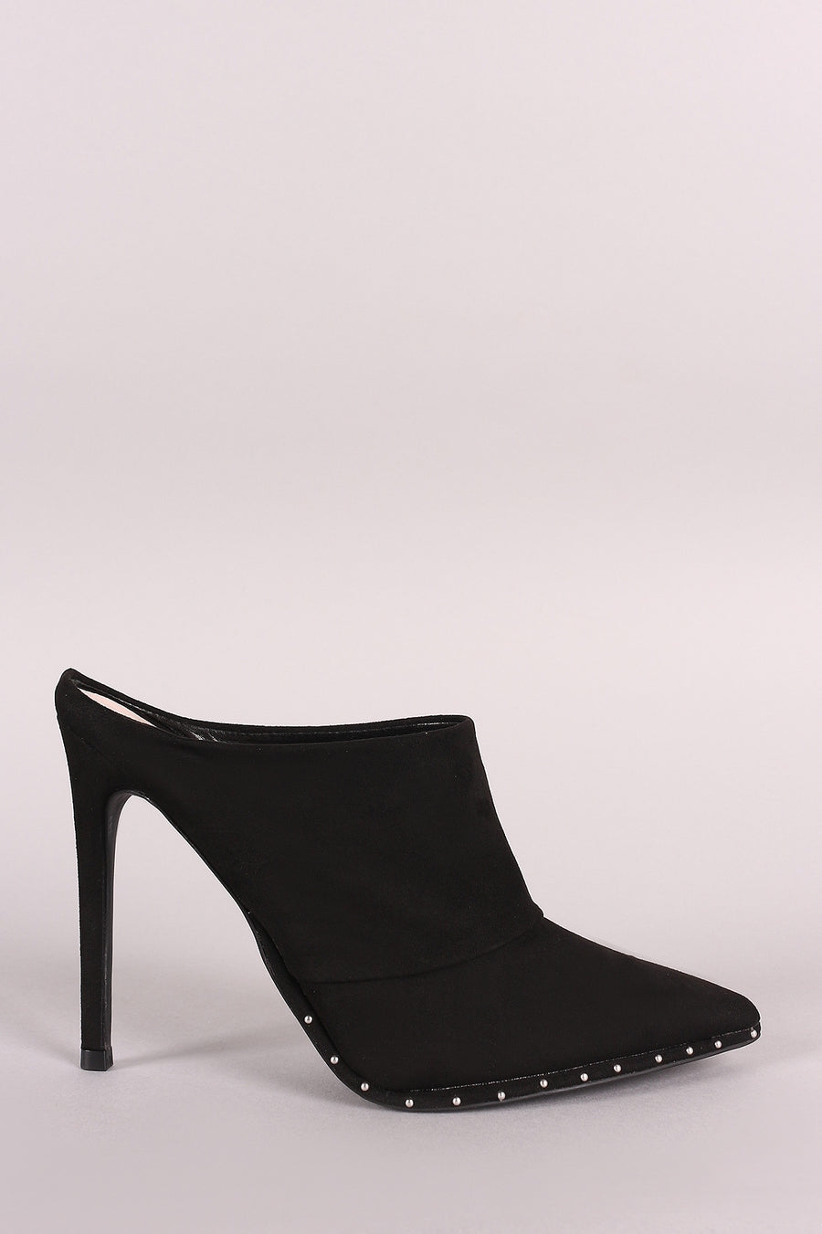 Qupid Suede Beaded Trim Pointy Toe Stiletto Mule Heel
