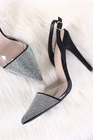 Shoe Republic LA Clear Trim Pointy Rhinestone Toe Stiletto Heel