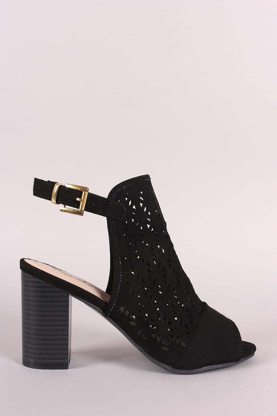 Qupid Perforated Suede Peep Toe Slingback Chunky Heel Mule