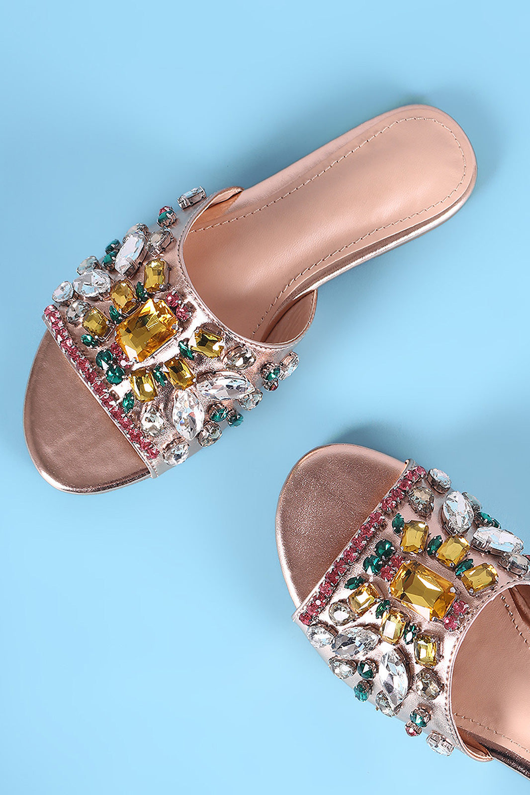 Liliana Jewels Embellished Open Toe Slide Sandal