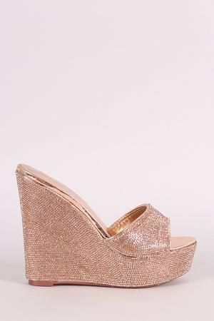 Rhinestone Embellished Open Toe Mule Platform Wedge