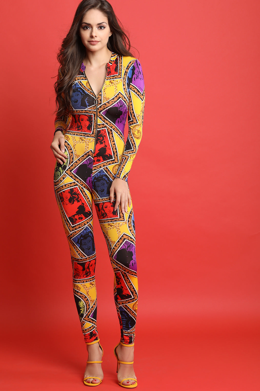Mixed Graphic Print Long Sleeves Jumpsuit