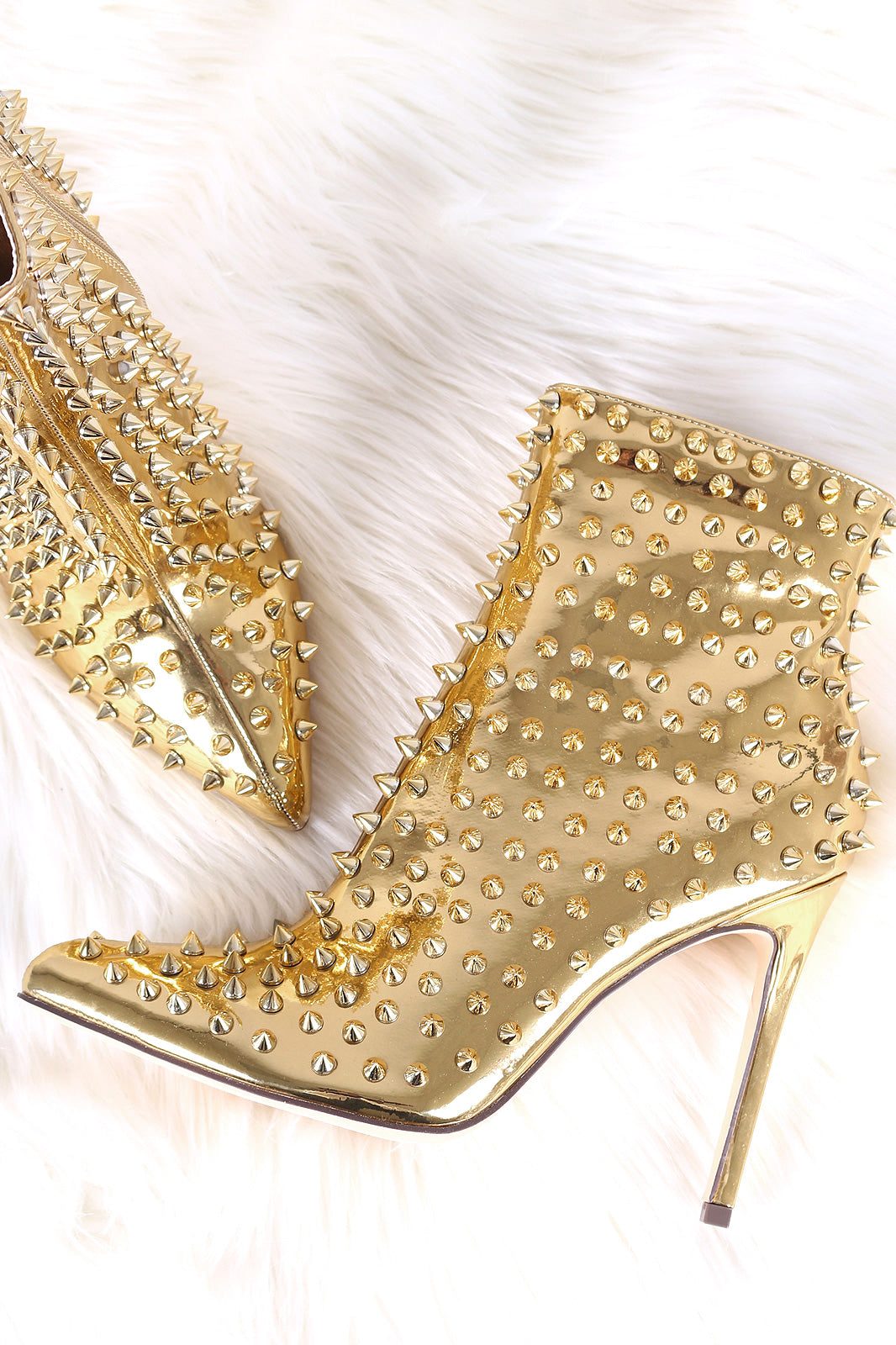 Liliana Spike Studs Patent Pointy Toe Stiletto Booties