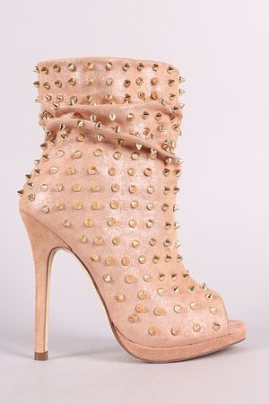 Liliana Spike Slouchy Shimmer Peep Toe Stiletto Booties