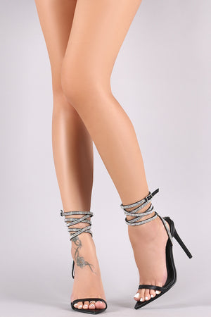 Strappy Rhinestone Embellished Pointy Open Toe Stiletto Heel