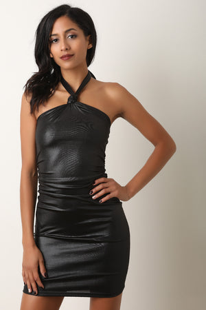 Shimmer Knotted Halter Bodycon Mini Dress