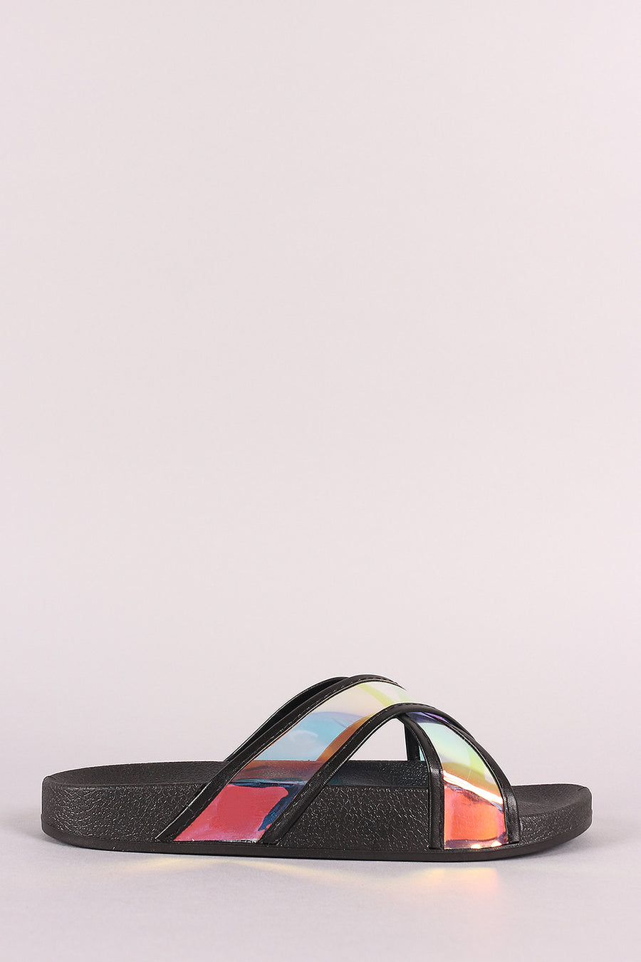 Liliana Holographic Crisscross Slide Sandal