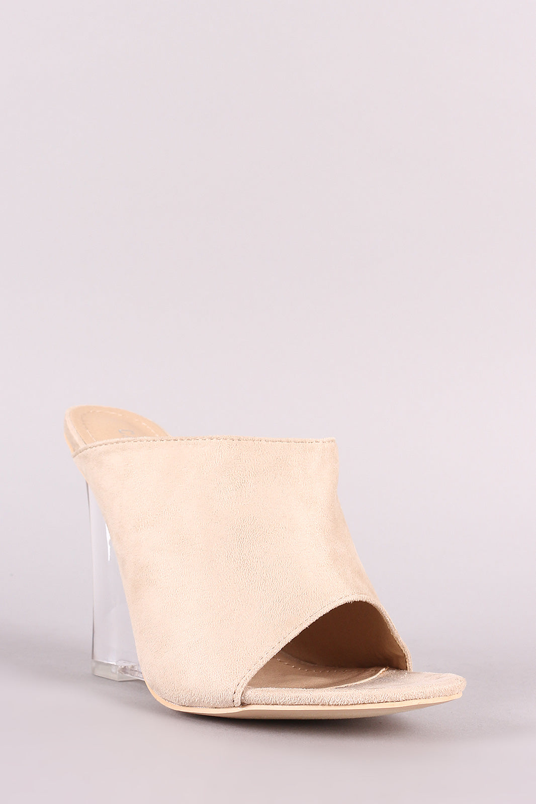 Suede Open Toe Mule Clear Wedge