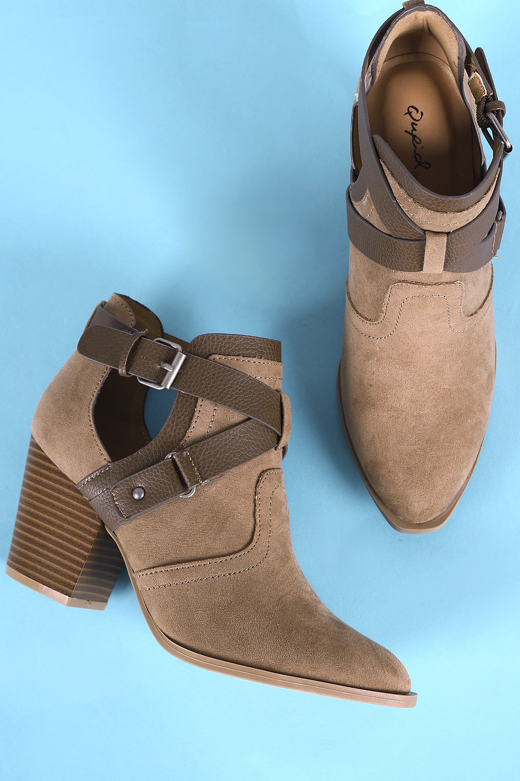 Qupid Crisscross Buckle Strap Side Cutout Stacked Chunky Heeled Booties