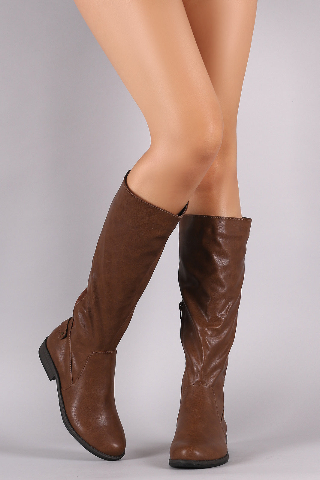 Bamboo Counter Strap Riding Knee High Boots