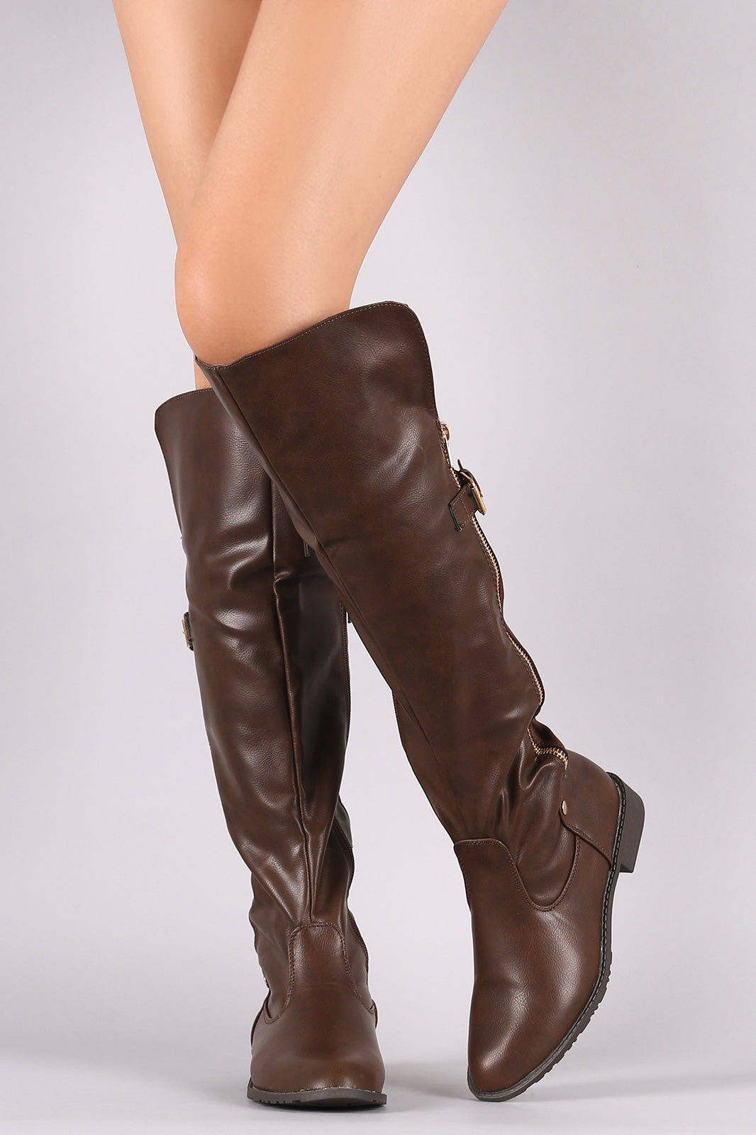 Zipper And Buckle Accent Asymmetric Collar Boots