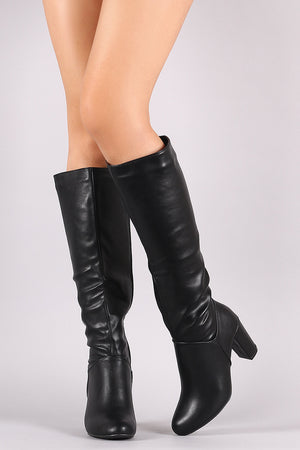 Bamboo Plain Chunky Heeled Knee High Boots