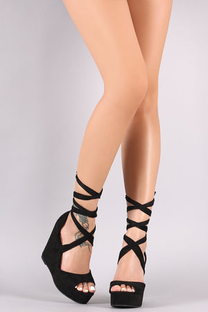 Wild Diva Lounge Strappy Lace-Up Platform Wedge