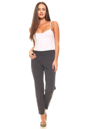 Women's Larry Levine Pant with Silver Buttons