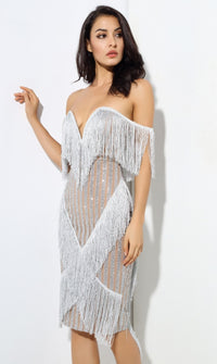 Silver Fringe Party Dress