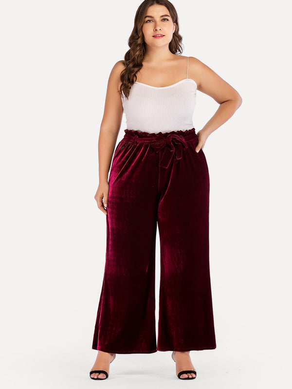Plus Frill Detail Wide Leg Solid Pant