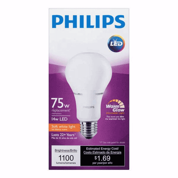 A21 Philips 14W Dimmable Warm White Indoor (6 Pack) image 77653770260