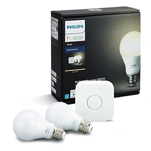 A19 Hue 9.5W White Dimmable Smart Wireless Lighting Starter Kit (2 Pack)