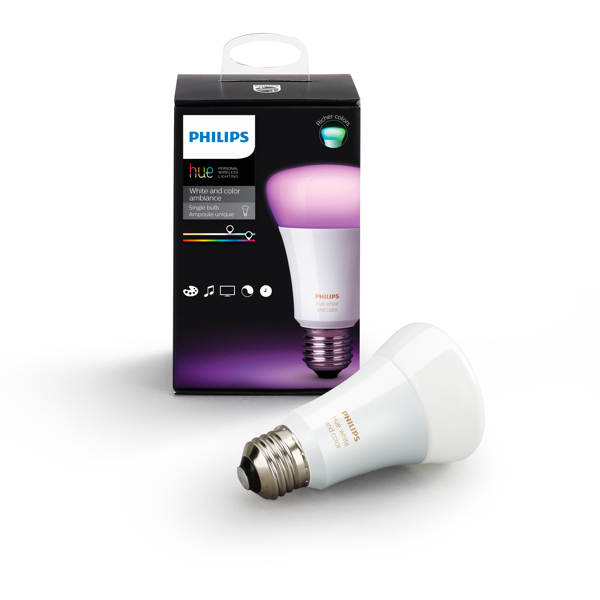 Philips Hue White and Color Ambiance A19 Single Bulb image 27295298709