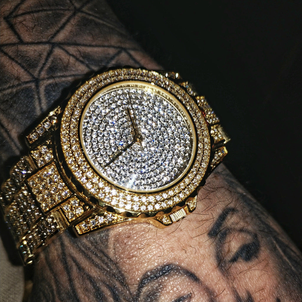 Sky Diamond Iced Out Gold Watch, Iced Out Watch, The GLD Plug
