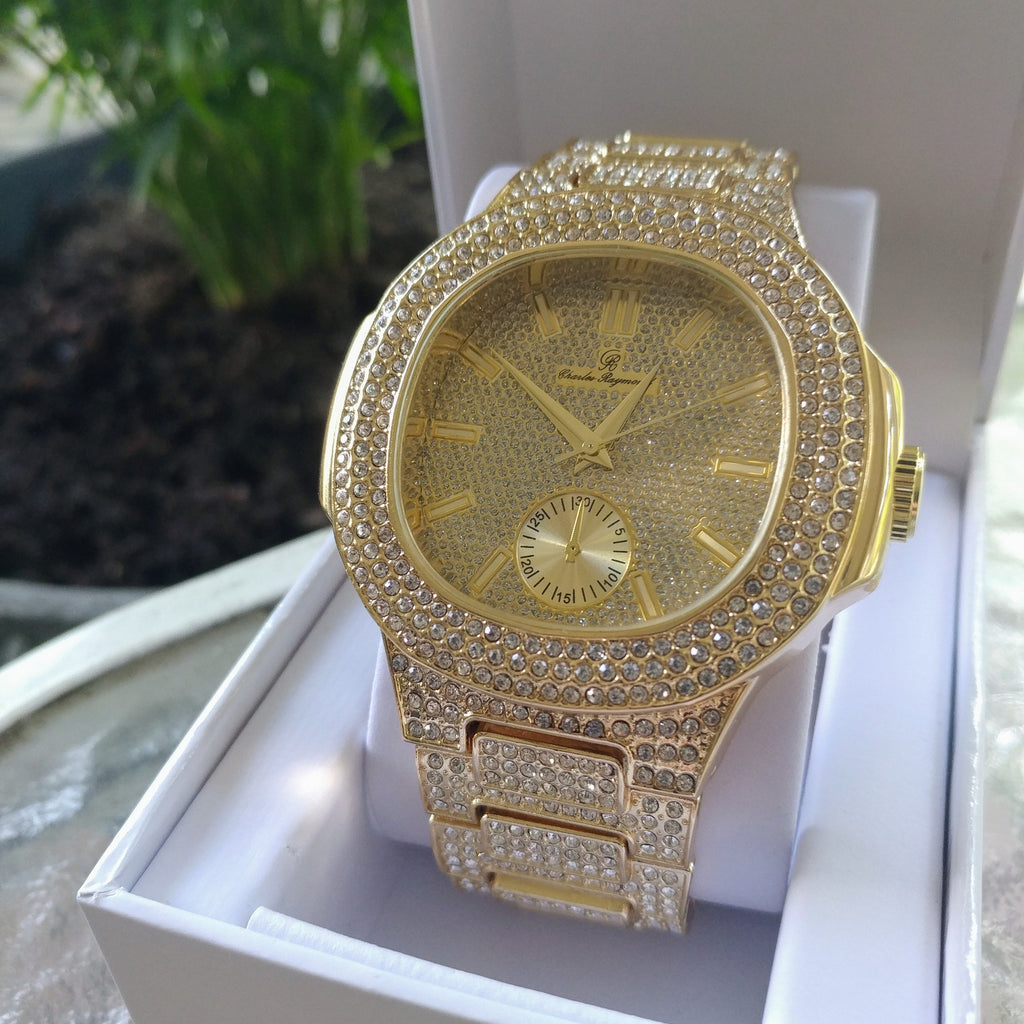 Imperial Classic Micropavé Gold Watch, Iced Out Watch, The GLD Plug