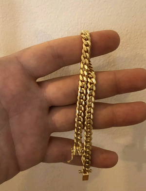 "8.5"" Miami Cuban Link Bracelet 14k Gold Plated Solid 925 Silver 6mm"