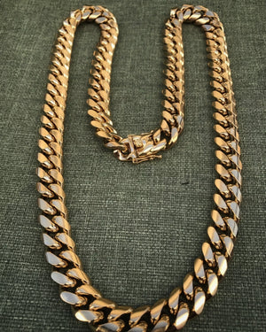 Miami Cuban Link 14mm 18k Gold Plated Chain