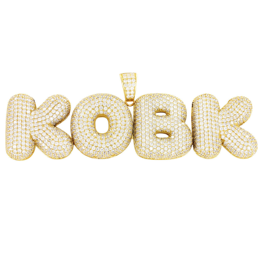 Custom 14k Yellow Gold Solid Back Diamond Simulate Bubble Letters