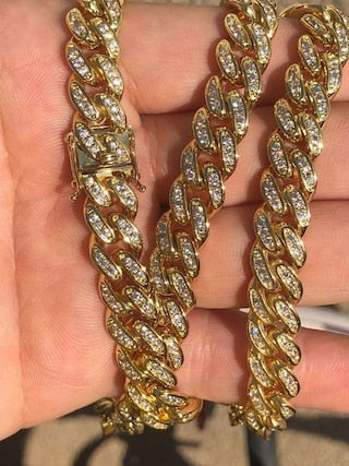 14k Gold Over Stainless Steel 10mm Thick 40ct Lab Diamond Men's Miami Cuban Link Chain Cuban Link Chain The GLD Plug