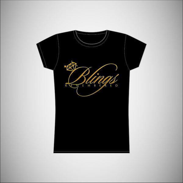 Blings Remembered - Womens T-Shirt w/Gold Logo