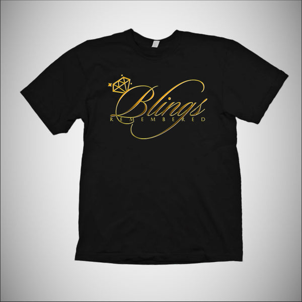 Blings Remembered - Mens T-Shirt w/Gold Logo