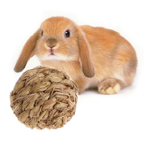 natural woven hemp grass bunny rabbit ball toy