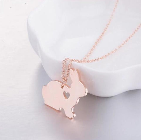 cute bunny rabbit necklace chain pendant for girls or women - bunny supply co.