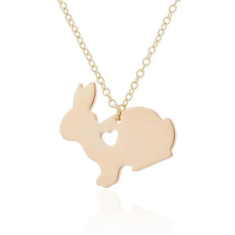Rabbit or bunny necklace - gold