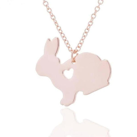 Rabbit or bunny necklace for women or girls - Rose Gold