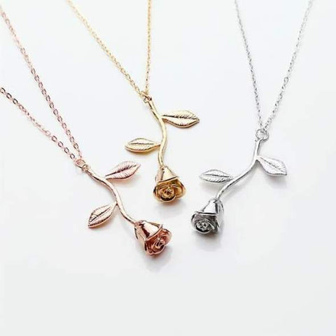 cute rose pendant necklaces for women or girls