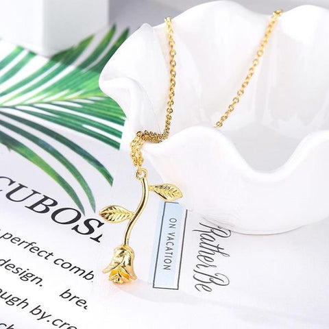 gold rose necklaces for women