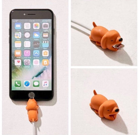 cute animal dog iphone cable saver protector