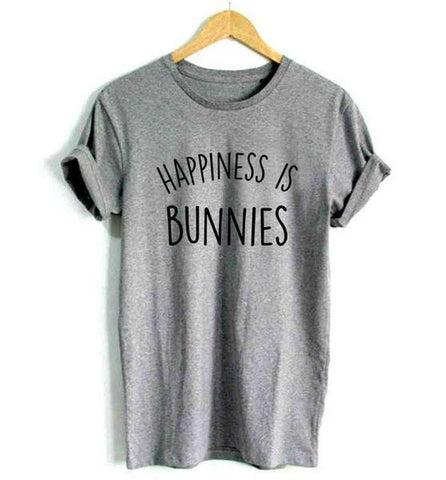 Grey  Happiness is Bunnies womens rabbits t shirts on sale