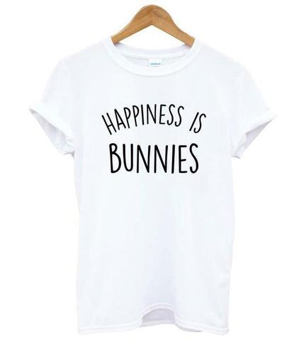 White Happiness is Bunnies womens rabbits t shirts on sale 2018