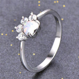Pet Lover's Paw Ring in Fire Opal - Bunny Supply Co.