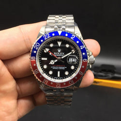 Replica Rolex GMT-Master II  BP Stainless Steel Black Dial Swiss Watch ( Pepsi ) - top quality swiss movement knockoff replica designer watches from rolex, migos iced out philippe patek , AP, hublot and bust down iced out diamond jewelry