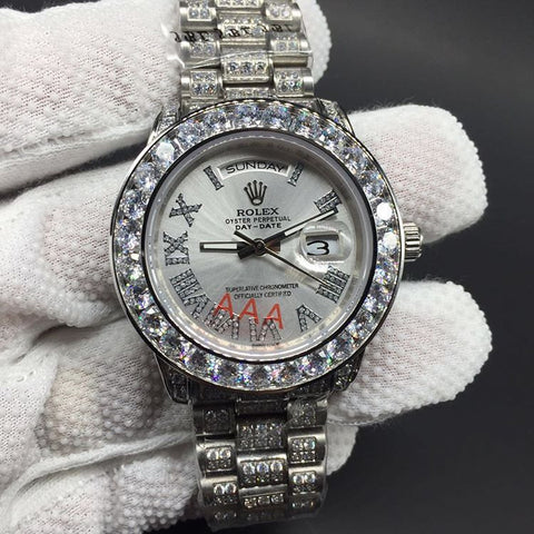 Iced out bust down silver rolex day date mens replica watch - top quality swiss movement knockoff replica designer watches from rolex, migos iced out philippe patek , AP, hublot and bust down iced out diamond jewelry