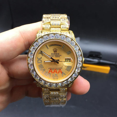 iced out yellow gold rolex day date mens replica watch - top quality swiss movement knockoff replica designer watches from rolex, migos iced out philippe patek , AP, hublot and bust down iced out diamond jewelry