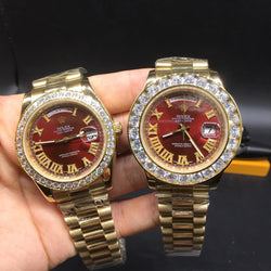 Iced out red dial rolex day date 40mm and 43mm replica watch - top quality swiss movement knockoff replica designer watches from rolex, migos iced out philippe patek , AP, hublot and bust down iced out diamond jewelry