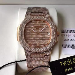 iced out Replica Patek Philippe Nautilus Jumbo 5719/1G-001 DM Rose Gold & Diamonds Diamonds Dial Swiss 324SC - top quality swiss movement knockoff replica designer watches from rolex, migos iced out philippe patek , AP, hublot and bust down iced out diamond jewelry