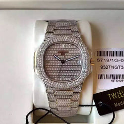 Replica Patek Philippe Nautilus Jumbo 5719/1G-001 DM white gold iced out & Diamonds Diamonds Dial Swiss 324SC - top quality swiss movement knockoff replica designer watches from rolex, migos iced out philippe patek , AP, hublot and bust down iced out diamond jewelry