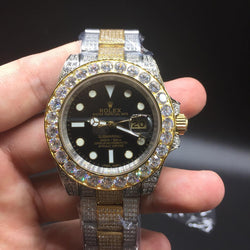ICED OUT two tone gold/stainless steel rolex submariner with black dial - top quality swiss movement knockoff replica designer watches from rolex, migos iced out philippe patek , AP, hublot and bust down iced out diamond jewelry