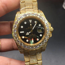 ICED OUT gold rolex submariner with black dial - top quality swiss movement knockoff replica designer watches from rolex, migos iced out philippe patek , AP, hublot and bust down iced out diamond jewelry